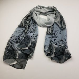Rose Floral Print Scarf, Black and Gray